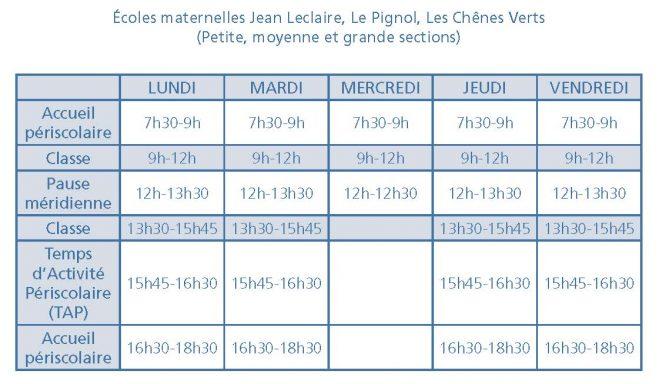 horaires maternelles